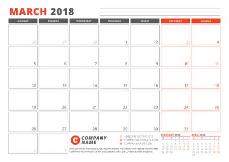 2018 年のカレンダー テンプレートです。3 月。ビジネス プランナー 2018年テンプレート。ひな形のデザイン。週は月曜日に始まります。