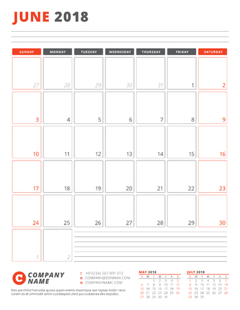 Calendar Template for 2018 Year. June. Business Planner 2018 Template. Stationery Design. Week starts on Sunday. Vector Illustration