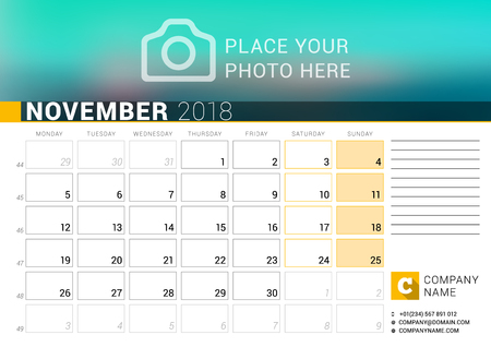 Calendar for November 2018. Vector Design Print Template with Place for Photo, Logo and Contact Information. Week Starts on Monday. Calendar Grid with Week Numbers and Place for Notes