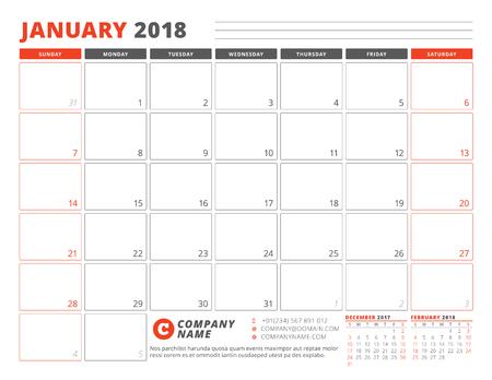 2018 년 1 월의 달력 플래너 템플릿입니다. 페이지의 벡터 일러스트에 3 개월의 일요일에 시작하는 주 일요일 일러스트