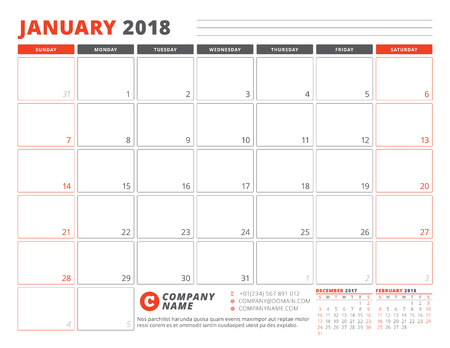 Calendar planner template for January 2018. Week starts on Sunday with 3 Months on the page vector illustration