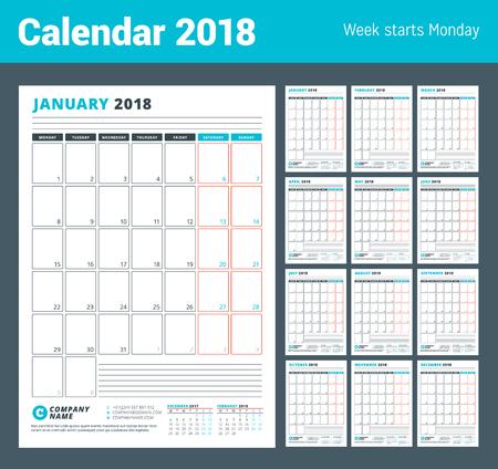Modèle de calendrier pour l'année 2018 Modèle de Business Planner 2018. Conception de papeterie. La semaine commence le lundi. Ensemble de 12 mois.