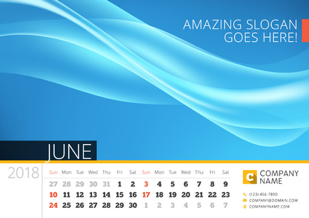 Desk line calendar for 2018 Year. June. Vector design print template with abstract background. Week starts on Sunday Illustration