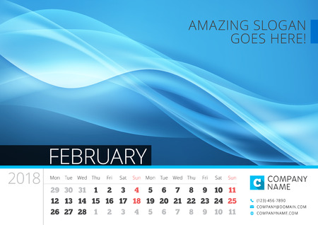 calendar design: Desk line calendar for 2018 Year. February. Vector design print template with abstract background. Week starts on Monday Illustration