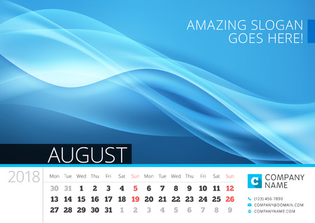 calendar design: Desk line calendar for 2018 Year. August. Vector design print template with abstract background. Week starts on Monday