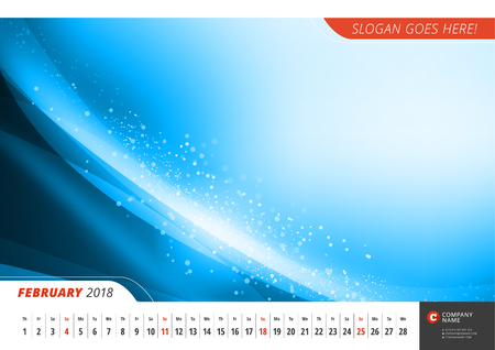 Wall monthly line calendar for 2018 Year. Vector design print template with abstract background. Landscape orientation. February 2018