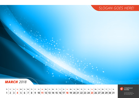Wall monthly line calendar for 2018 Year. Vector design print template with abstract background. Landscape orientation. March 2018