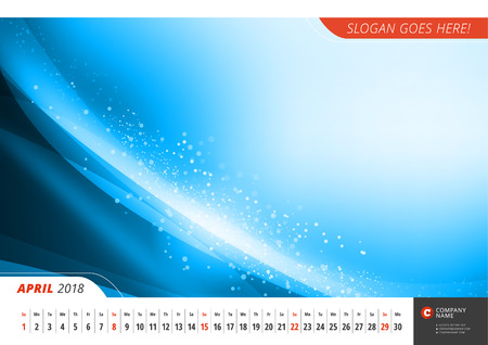 Wall monthly line calendar for 2018 Year. Vector design print template with abstract background. Landscape orientation. April 2018