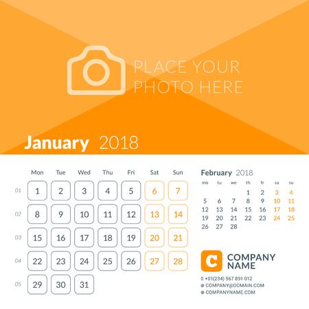 2018 年 1 月。2018 年のカレンダー印刷のテンプレートです。週は月曜日に始まります。写真のための場所とベクター デザイン テンプレート  イラスト・ベクター素材
