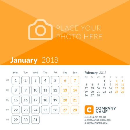 January 2018. Calendar print template for 2018 year. Week starts on Monday. Vector design template with place for photo Illustration