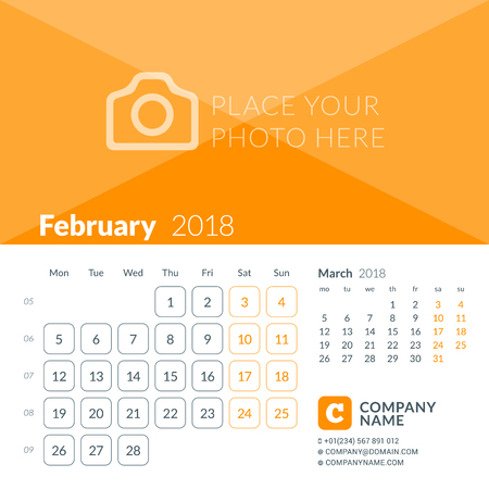February 2018. Calendar print template for 2018 year. Week starts on Monday. Vector design template with place for photo