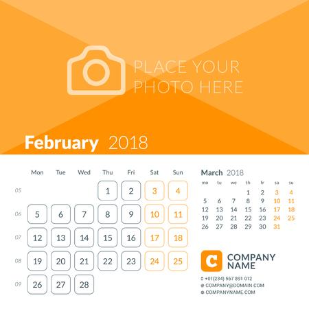 Februari 2018. Afdruksjabloon voor de kalender voor 2018 jaar. Week begint op maandag. Vector ontwerpsjabloon met plaats voor foto Stock Illustratie