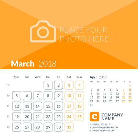 March 2018. Calendar print template for 2018 year. Week starts on Monday. Vector design template with place for photo