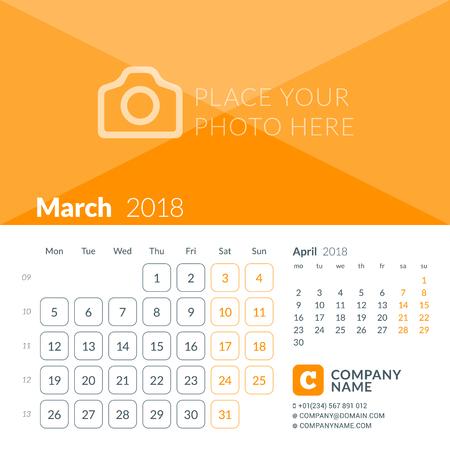 Maart 2018. Afdruksjabloon voor de kalender voor 2018 jaar. Week begint op maandag. Vector ontwerpsjabloon met plaats voor foto Stock Illustratie