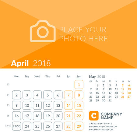 April 2018. Calendar print template for 2018 year. Week starts on Monday. Vector design template with place for photo