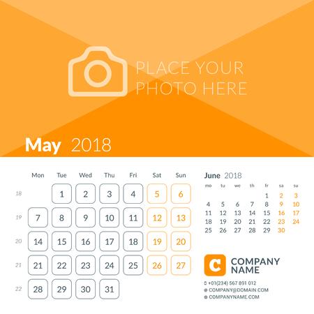 Mei 2018. Afdruksjabloon voor de kalender voor 2018 jaar. Week begint op maandag. Vector ontwerpsjabloon met plaats voor foto