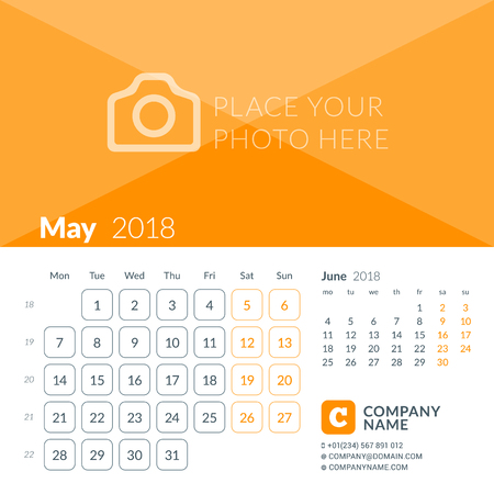 May 2018. Calendar print template for 2018 year. Week starts on Monday. Vector design template with place for photo