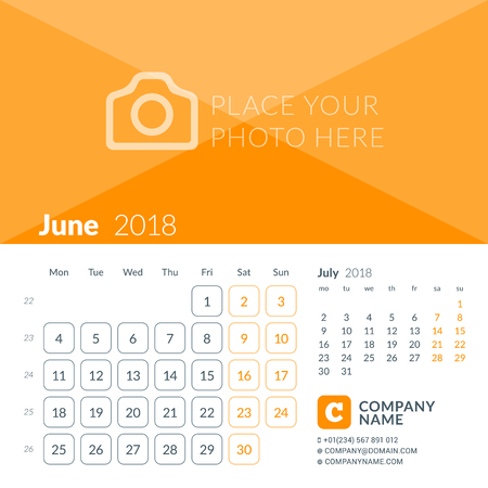 June 2018. Calendar print template for 2018 year. Week starts on Monday. Vector design template with place for photo