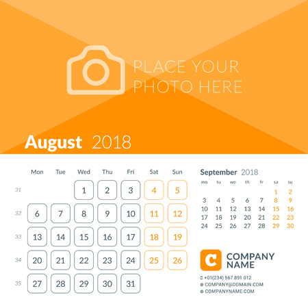 August 2018. Calendar print template for 2018 year. Week starts on Monday. Vector design template with place for photo