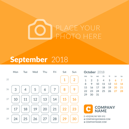 September 2018. Calendar print template for 2018 year. Week starts on Monday. Vector design template with place for photo Illustration