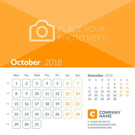 October 2018. Calendar print template for 2018 year. Week starts on Monday. Vector design template with place for photo