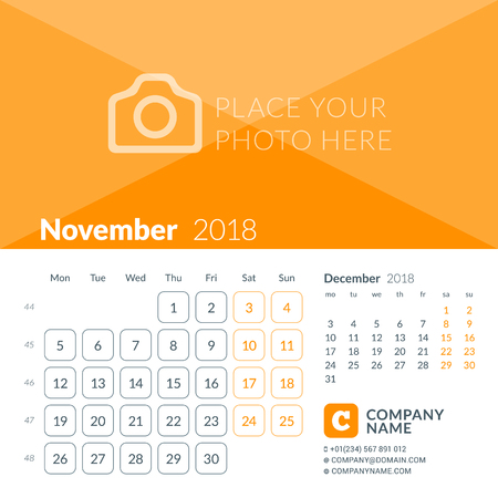 November 2018. Calendar print template for 2018 year. Week starts on Monday. Vector design template with place for photo