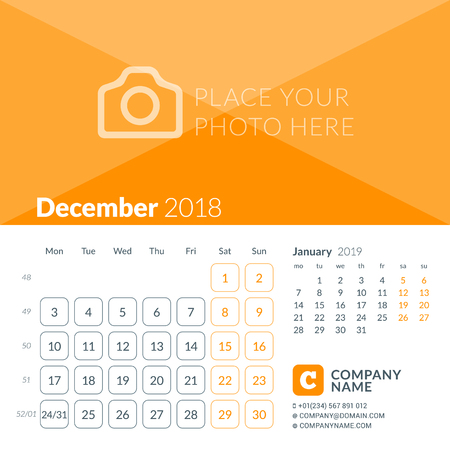 December 2018. Calendar print template for 2018 year. Week starts on Monday. Vector design template with place for photo Illustration