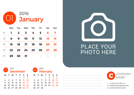 Desk calendar for January 2018 year vector design print template with place for photo