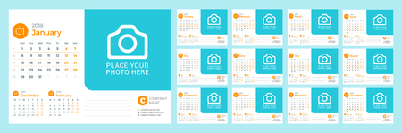 Desk calendar for 2018 year vector design print template with place for photo that week starts on Monday Illusztráció