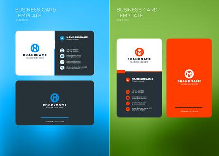 Corporate Business Card Print Template. Vertical and Horizontal Business Card Templates. Vector Illustration. Business Card Mockup. Vettoriali