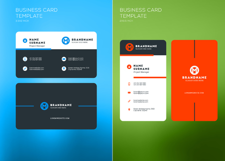 Corporate Business Card Print Template Vertical And Horizontal