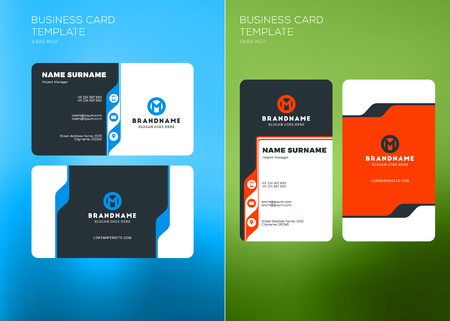 Corporate business card print template vertical and horizontal corporate business card print template vertical and horizontal business card templates vector illustration wajeb Gallery
