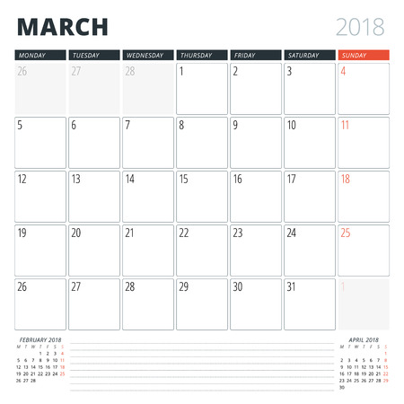 Calendar Planner for March 2018. Design Template. Week Starts on Monday. 3 Months on the Page Illustration