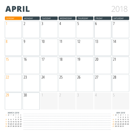 Calendar Planner for April 2018. Design Template. Week Starts on Sunday. 3 Months on the Page