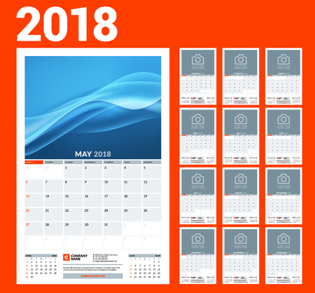 Wall calendar template for 2018 year. Vector illustration. Set of 12 months. Stationery design Stock Vector - 96185431