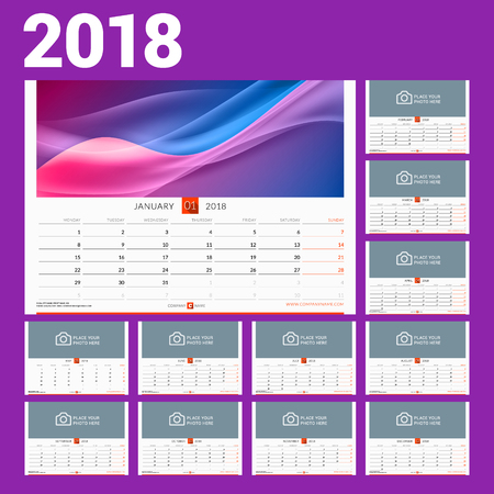 Wall calendar template for 2018 year. Vector illustration. Set of 12 months. Stationery design Illustration
