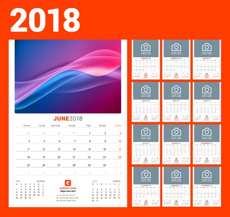 Wall calendar template for 2018 year vector illustration. Set of 12 months stationery design. Vectores