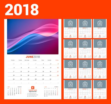 Wall calendar template for 2018 year vector illustration. Set of 12 months stationery design. Ilustração