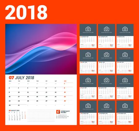 Wall Calendar Template For 2018 Year Vector Illustration Set