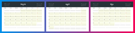 Calendar template for spring 2018. March, April and May design print vector template.