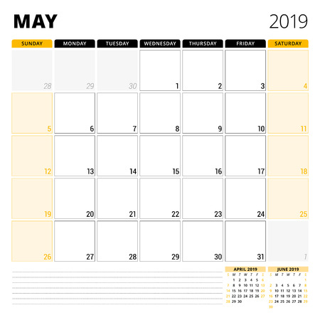 Calendar planner for May 2019. Stationery design template. Week starts on Sunday. 3 months on the page. Vector illustration