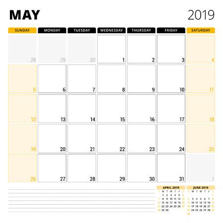 Kalenderplaner für Mai 2019. Briefpapier-Entwurfsvorlage. Die Woche beginnt am Sonntag. 3 Monate auf der Seite. Vektor-illustration Standard-Bild - 96964418