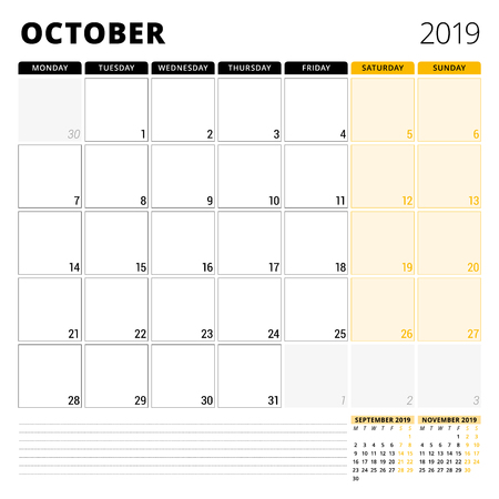 Calendar planner for October 2019. Stationery design template. Week starts on Monday. 3 months on the page. Vector illustration 矢量图像