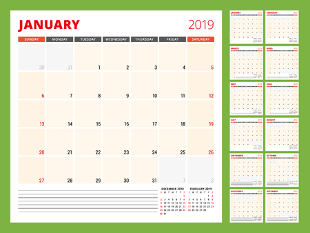 Calendar planner template for 2019 year. Week starts on Sunday. Vector illustration 일러스트