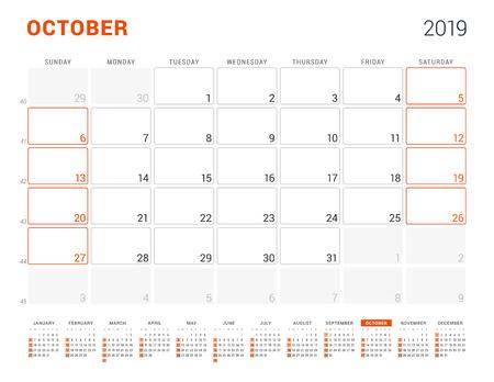 October 2019. Calendar planner for 2019 year.