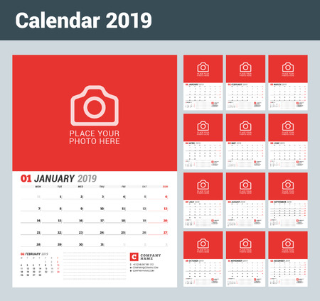Wall calendar planner for 2019 year. Set of 12 months. Vector print template with place for photo. Week starts on Monday Vettoriali