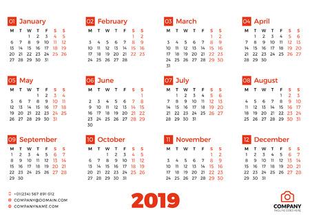 Simple calendar for 2019 year. Vector design print template. Week starts on Sunday