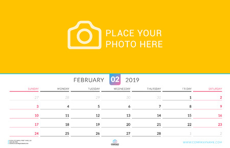 Wall calendar for February 2019. Vector design print template with place for photo. Week starts on Sunday. Landscape orientation