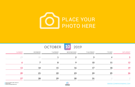Wall calendar for October 2019. Vector design print template with place for photo. Week starts on Sunday. Landscape orientation