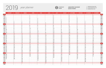 Yearly Wall Calendar Planner Template for 2019 Year. Vector Design Print Template. Week Starts Sunday Illustration
